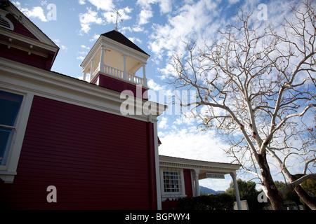 Historic Santa Clara Schoolhouse built in 1896 located in the Santa Clarita Valley in Ventura County California - Stock Photo