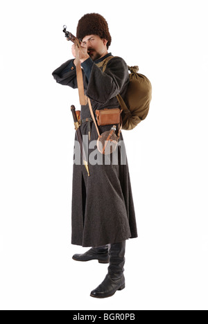 ... Man in vintage costume of Russian Cossack points a rifle. - Stock Photo  sc 1 st  Alamy & Man in vintage costume of Russian Cossack with a rifle Stock Photo ...