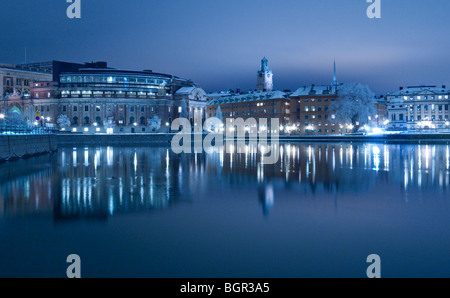 View of the Swedish parliament buildings on Helgeandsholmen and Gamla Stan seen from Strömgatan, Stockholm Sweden - Stock Photo