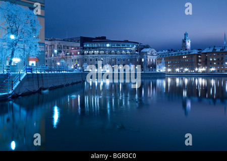 View of the Swedish parliament buildings on the island of Helgeandsholmen, seen from Strömgatan, Stockholm, Sweden - Stock Photo