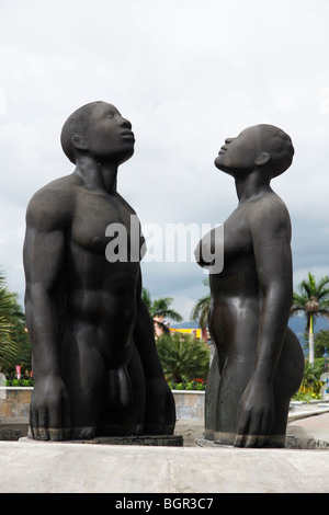Kingston, Jamaica - December 20, 2009 - Redemption Song monument in Emancipation Park. - Stock Photo