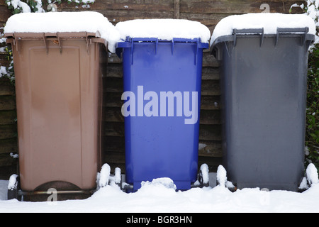 Household recycling bins in winter, Scotland UK - Stock Photo