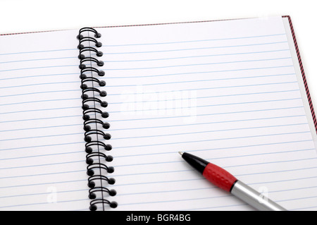 Open Notebook with Pen - Stock Photo