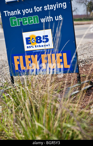 Sign by service station, 'Flex-Fuel' , E-85. - Stock Photo