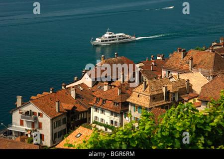 medieval town of Saint-Saphorin at Lake Leman, UNESCO World Heritage site Lavaux, Vaud, Switzerland - Stock Photo