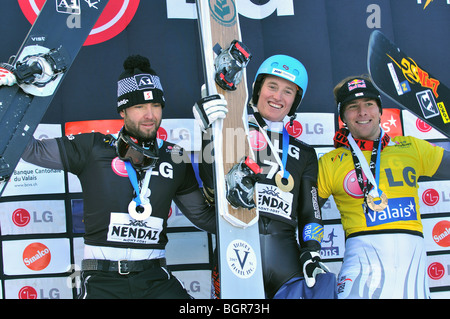 Snowboard mens world cup giant parallel podium - Stock Photo