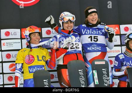Snowboard world cup podium - Stock Photo