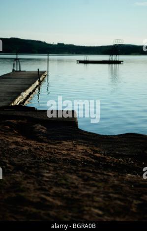 A jetty in a lake, Dalarna, Sweden. - Stock Photo