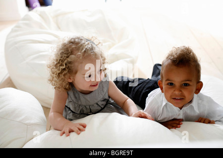 Portrait of two children. - Stock Photo