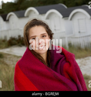 Portrait of a young woman, Skane, Sweden. - Stock Photo