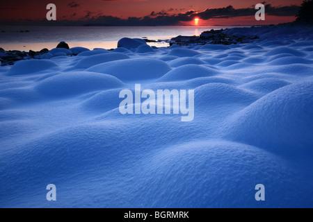Beautiful winter sunset at Larkollen in Rygge kommune, Østfold fylke, Norway. - Stock Photo