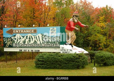 AJD62617, Bessemer, MI, Michigan, Upper Peninsula, Big Powderhorn Mountain Ski Resort, entrance - Stock Photo
