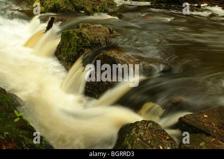 AJD62681, MI, Michigan, Upper Peninsula, Porcupine Mountains Wilderness State Park, Overlooked Falls, Little Carp - Stock Photo