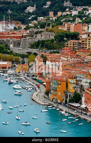 View of Villefranche sur Mer, Cote d'Azur, Alpes Maritimes, Provence, France. - Stock Photo