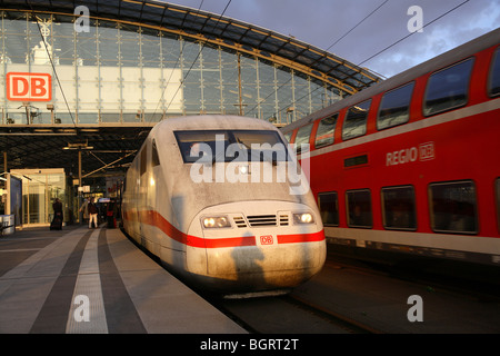 High-speed train on a platform, Berlin, Germany - Stock Photo