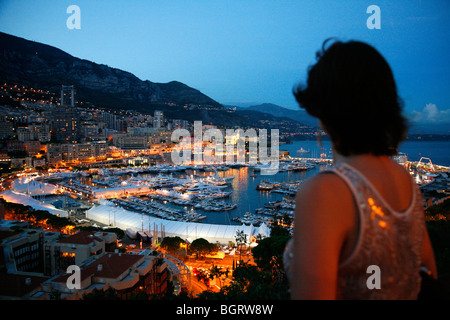 View over the port of Monte Carlo seen from the Rock, Monaco. - Stock Photo