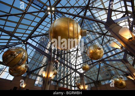 Christmas decorations, indoor shopping mall, Boston, Massachusetts - Stock Photo