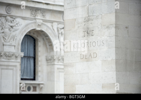 'The Glorious Dead' inscription on the Cenotaph, London - Stock Photo