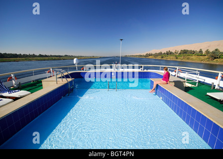 RIVER NILE, UPPER EGYPT. Cruising in style from Aswan to Luxor on the MV Viking Princess. 2009. - Stock Photo