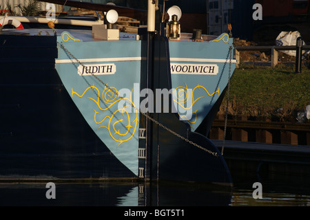 Stern of Thames Barge 'Judith' at sunset on the River Lea, Tottenham, London, England - Stock Photo