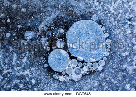 Close up of bubbles in ice in Rouge Park an urban wilderness in Toronto Ontario Canada - Stock Photo