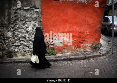 Street scene in Fatih neighborhood - Stock Photo