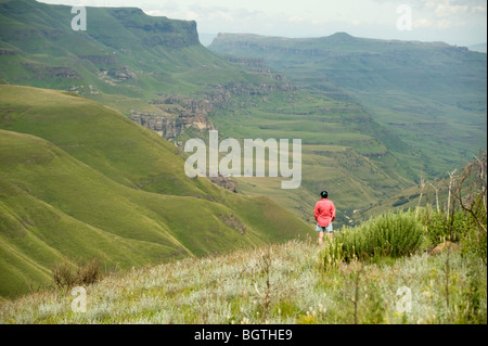 The Sani Pass, which goes from South Africa to Lesotho, through the Drakensburg Mountains. South Africa - Lesotho - Stock Photo