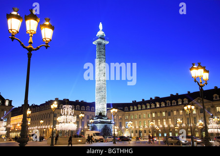 PLACE VENDOME AT NIGHT, PARIS - Stock Photo