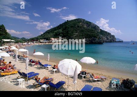 greece, ionian islands, corfu, paleokastritsa beach - Stock Photo