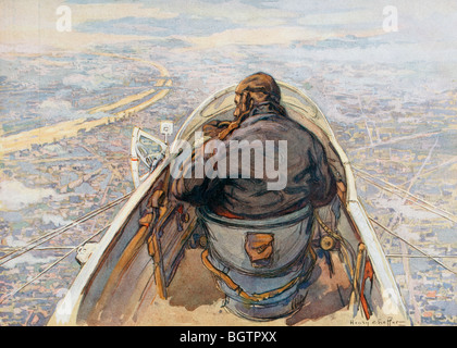 Birds eye view of Paris from a reconnaissance plane during the First World War. - Stock Photo