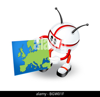 3D illustration of robot character holding map of Europe - Stock Photo