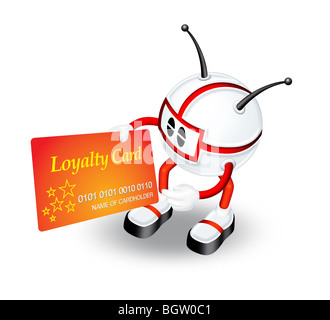 3D character illustration with Loyalty card - Stock Photo