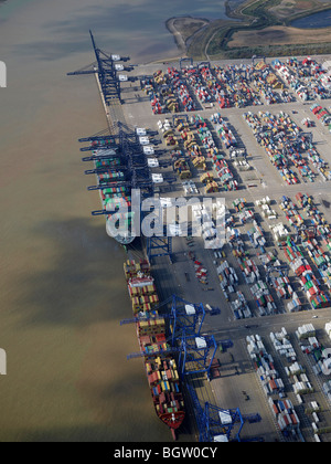 Felixstowe Port, from the Air, Summer 2009, Eastern England - Stock Photo