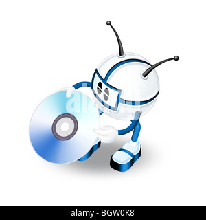 3d man with CD - Stock Photo