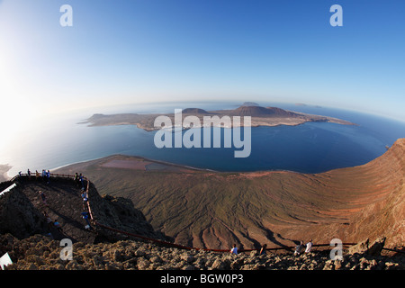 La Graciosa Island, view from Mirador del Rio, Lanzarote, Canary Islands, Spain, Europe - Stock Photo