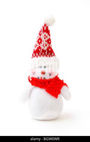Snowman made of fabric, plush - Stock Photo