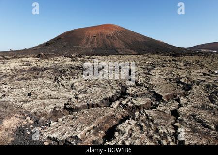 Montaña Negra volcano, lava field, Lanzarote, Canary Islands, Spain, Europe - Stock Photo