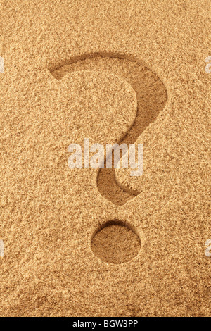 Question Mark in Sand - Stock Photo