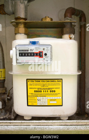 gas meter in the UK - Stock Photo