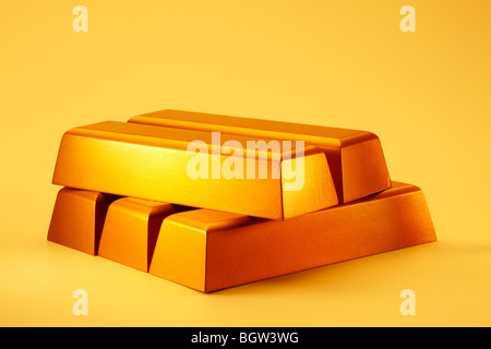 Gold Bars Stacked - Stock Photo