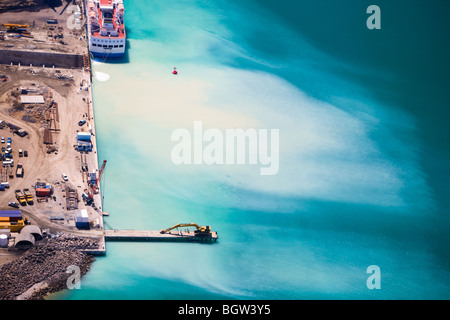 Aerial view of construction work in harbor of Port Louis, Mauritius - Stock Photo