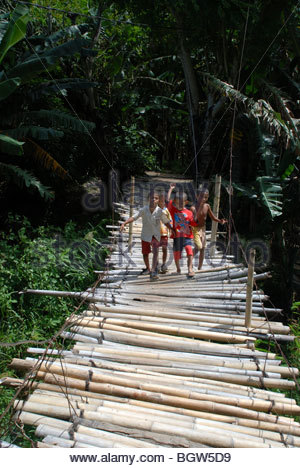 Four boys aged 7 years old walk across an uneven rickety looking bamboo walkway on a suspension bridge Ende Flores - Stock Photo