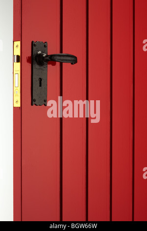 Red Painted Front Door - Stock Photo