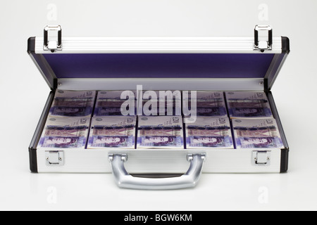 Twenty Pound Notes in Silver Metal Brief Case - Stock Photo
