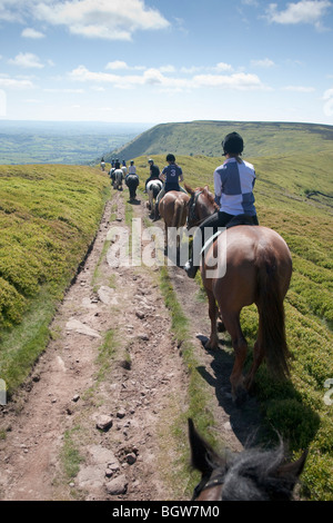 A horseback excursion from Llanthony up on Offa's Dyke on the border between England and Wales, UK - Stock Photo