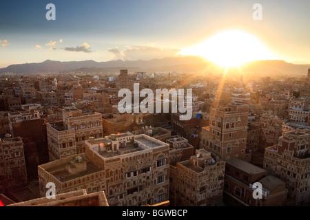 Sunset over Sana'a, Yemen - Stock Photo