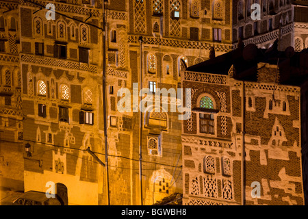 Sana'a at night, Yemen - Stock Photo