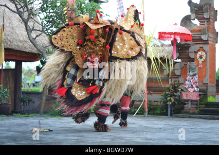 Barong and Keris Dance performed by Balinese tradition dancer and actors in an open air stage. - Stock Photo