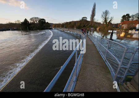 The public walkway on Hambleden Weir on the River Thames at Mill End between Marlow and Henley - Stock Photo