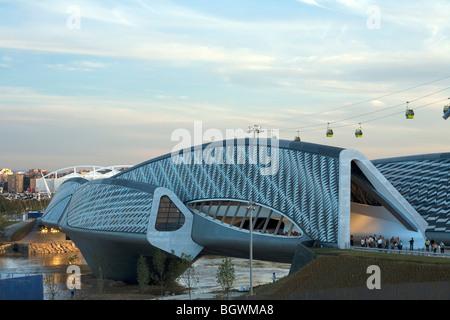 BRIDGE PAVILION 2008 - EXPO ZARAGOZA, ZARAGOZA, SPAIN, ZAHA HADID - Stock Photo